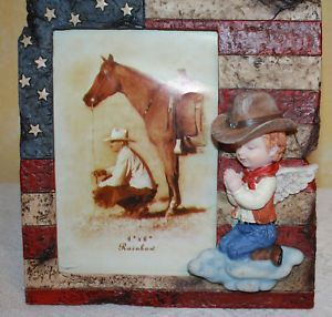 Praying Angelic Cowboy Western Picture Frame 4x6