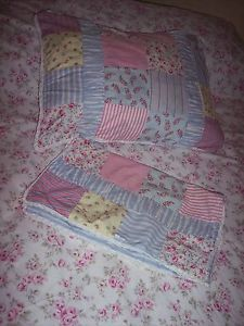 Vintage Pillow Cases Shams Laura Ashley Patchwork Shabby Country Cottage Chic