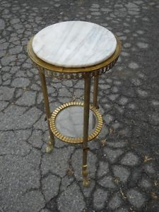 Antique Brass Marble Plant Stand Late 1800s Central Virginia