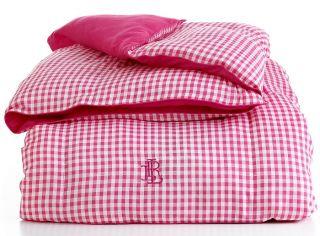 Ralph Lauren Pink Gingham Full Queen Down Alternative Comforter