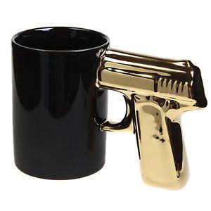 Novelty Creative Gun Pistol Gold Handle Design Mug Coffee Cup Black New Gift