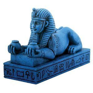 Blue Amenhotep III Sphinx Egyptian Statue Sculpture Figure Collectible Decor New