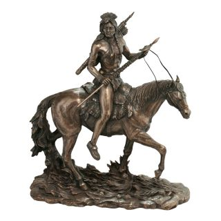 Native American Indian Warrior with Spear on Horseback Faux Bronze Sculpture