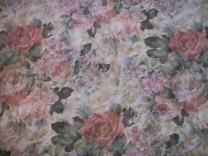 "Croscill 4 Cabbage Rose Beige Blue Green Semi Sheer Curtain Panels 58"" x 82"""