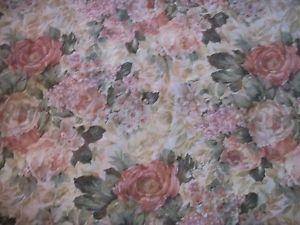 "Croscill 4 Cabbage Rose Beige Blue Green Semi Sheer Curtain Panels 58"" x 82"""