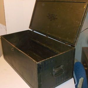 "1988 Vintage Wooden Military Trunk Green Foot Locker 32"" Long Plywood Box Verygd"