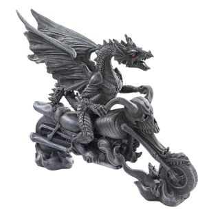 Medieval Gothic Skeleton Chopper Motorcycle Dragon Rider Biker Sculpture