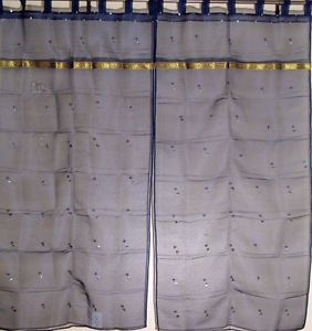 Ethnic Sari Navy Blue India Organza Sequin Work 2 Sheer Curtains Panels 78in