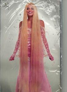 "60"" inch Rapunzel Wig 5' Foot Super Long Straight Blonde Lady Godiva Cousin It"
