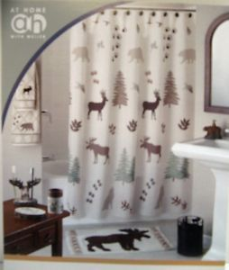 Moose Deer Wolf Bear Shower Curtain North Woods Silhouette Lodge Pine Fir Trees