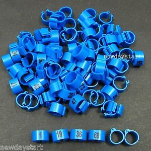 100pcs Blue 9 5mm Poultry Leg Bands Bird Pigeon Parrot Chicks Rings 1 100 Number