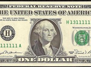 UNC 1981 $1 Dollar Bill Near Solid Serial Number Federal Reserve Note Currency