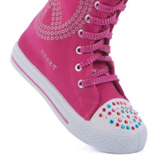 Girl Knee High Top Lace Up Boot Canvas Sneakers Kids Shoes Skate Multi Pattern