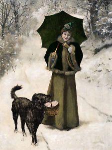 Flat Coated Retriever Victorian Lady Snow Scene 8 x 10 Dog Print Ready to Frame
