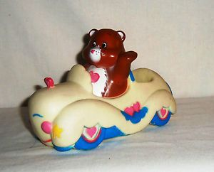 RARE Rubber Vinyl 1980's Care Bear Tenderheart in White Car Toddler Toy