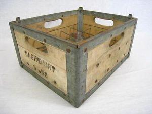 Vintage Dairy Milk Bottle 20 Pint Wood Crate Carrier Box Home Kitchen Decor