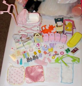 Huge Lot of Barbie Baby Toddler Accessories Stroller Crib Toys for Krissy Nikki