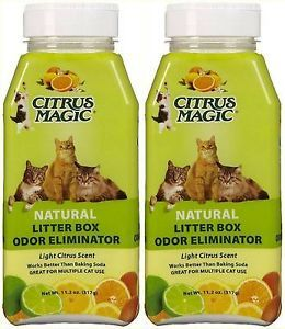 Lot 2 Jars Citrus Magic Natural Litter Box Odor Eliminator Multiple Cat Use