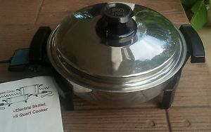 "West Bend 11"" Lustre Craft 900W Liquid Core Electric Skillet Lid Instructions"