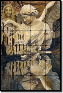 Margosian Angel Religious Art Tumbled Marble Tile Mural