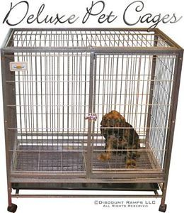 """40"""" Dog Kennel w Wheels Portable Pet Carrier Crate Cage Pet Cage 2"""