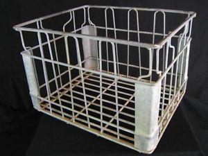 Vintage Wire Dairy Milk Bottle Storage Crate Carrier Basket Industrial Decor