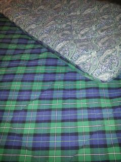Tommy Hilfiger Plaid Paisley Navy Blue Full Queen Comforter Reversible