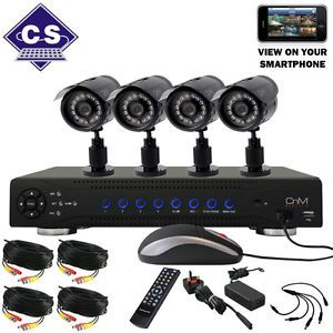 CNM Secure H 264 8 Channel 500GB DVR 4 Camera CCTV Kit Home Business System