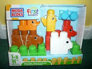 New Mega Bloks First Builders Farm Pals Cow Sheep Duck Chicken Horse 11 Pieces