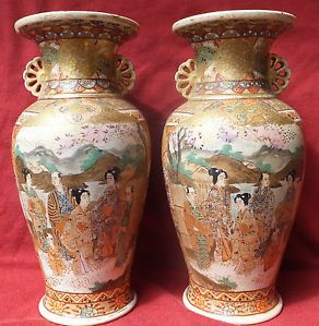 Pair of Antique Japanese Satsuma Pottery Vases