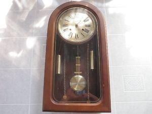 Vintage ★ Waltham Pendulum Solid Wood Wall Clock 31 Day Chime Key Wound