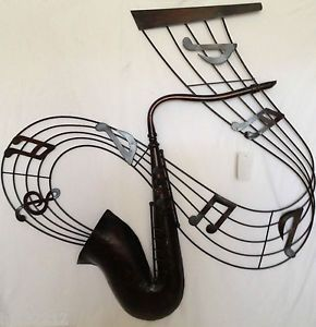 Saxophone Music Notes Decorative Metal Wall Art