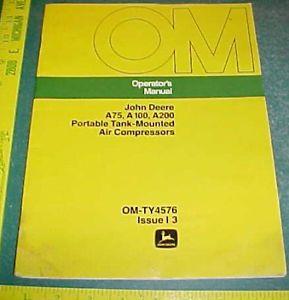 John Deere A75 A100 A200 Air Compressors Operator's Manual