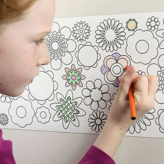 junior flower power design colour in border by funwall