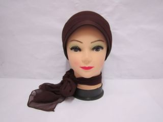 New Rose Flower Hijab Scarf Cap Bonnet Chemo Hat Turban Dark Brown