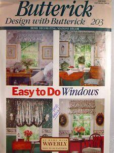 Pattern B203 Easy to do Windows Valances Balloon Shades Jabots Yardage Chart Inc