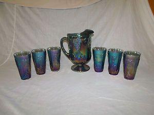 Vintage Indiana Blue Carnival Glass Harvest Grape Water Pitcher 6 Glasses