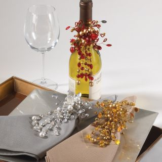 Hand Beaded Floral Design Wine Bottle Decoration or Napkin Ring 3 Chic Colors