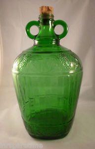 Vintage Owens Illinois Glass Co Green Glass Gallon Wine Jug w Original Cork