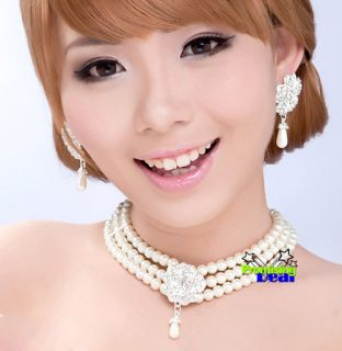 Luxury Bridal Engagement Pearl Necklace Earrings Bracelet Jewelry Sets