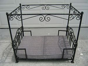 Canopy Dog Bed Four Post Raised Metal Cast Wrought Iron Cat Pet Doll Pampered