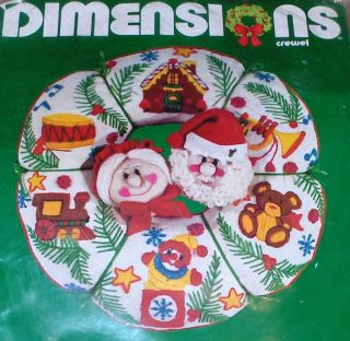"1981 Dimensions Christmas ""Santa Wreath"" Crewel Kit 14"" Teddy Bear Drum Train"