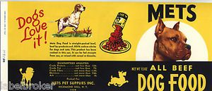 Vintage Can Label RARE Dog Food 1960s Mets Richmond Hill New York Graphic Arts
