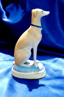 Antique Staffordshire Greyhound Whippet Dog on Cushion w Blue Collar Quite Regal