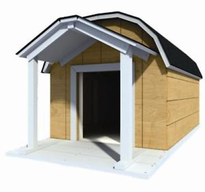 "48"" x 60"" Dog House Plans Gambrel Roof Pet Size to 150 lbs Large Dog 08"