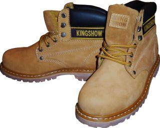 Kingshow Men Waterproof Winter Snow Leather Boots Wheat