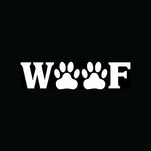 Woof with Paw Prints Sticker Cute Vinyl Decal Dog Puppy Animal Rescue Pet Gift
