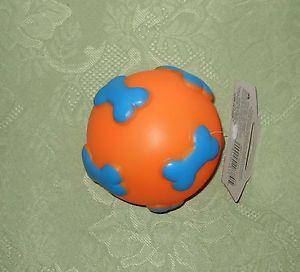 Orange and Blue Vinyl Ball Squeak Dog Play Toy