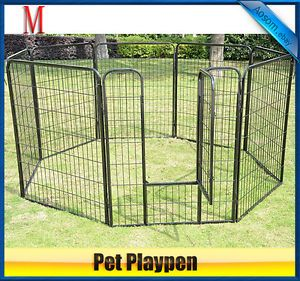 "32""Heavy Duty 8 Panels Pet Playpen Dog Play Exercise Pen Cat Fence"