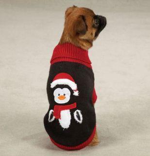 Zack Zoey Christmas Holiday Penguin Sweater Pet Dog Knit Sweater XXS L